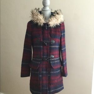 Forever 21 Plaid Winter Coat with Faux Fur Hood
